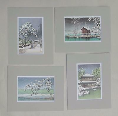 "Set of 4 Matted Prints Kawase Hasui Japan  8 x 10"" Sealed Gray Mat"