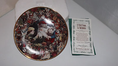 A Visit From St. Nicholas Collector Plate - MIB - Hamilton Victorian Christmas