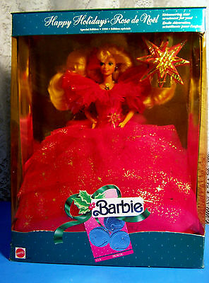 1990 HAPPY HOLIDAYS SPECIAL ED. HOT PINK BARBIE DOLL Rare ROSE DE NOEL  NRFB