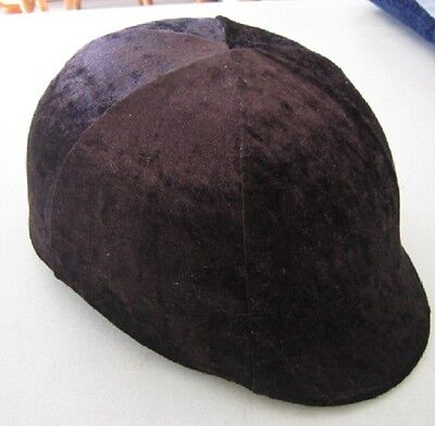 Horse Helmet Cover Brown  Velvet AUSTRALIAN MADE Choose your size