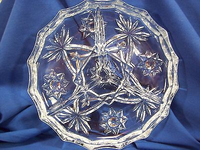 EAPC Anchor Hocking Star Of David Prescut Glass 3 Part Round Tray 6-1/4 ""