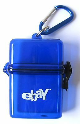 eBay Logo Blue Plastic Card Holder with Carabiner Clip NEW