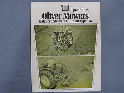 original 1970s Oliver 351 356  Mowers sales Brochure Catalog Tractor