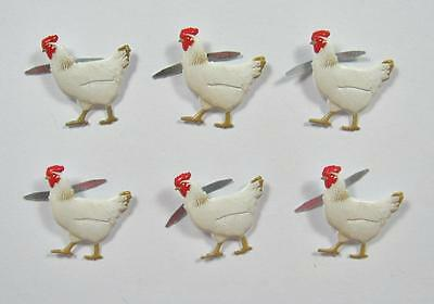 BRADS CHICKENS pk of 6 bird farm eggs chook chicks scrapbooking craft split pin