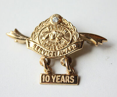 Penrith Rugby League Club Service Award (10 Years) 9ct Gold Badge - RARE