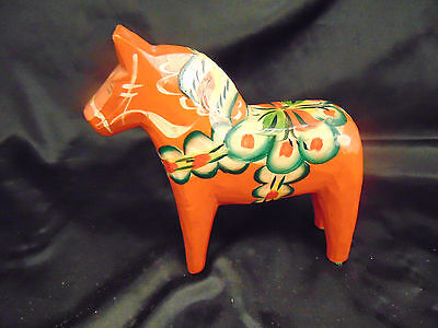 """Hand crafted wooden horse made Sweden heritage collectible colorful 6"""" high art"""
