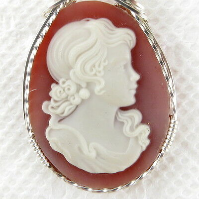 Victorian Lady Red Resin Cameo Pendant .925 Sterling Silver Jewelry