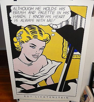"""Roy Lichtenstein """"girl At Piano"""" Huge Mcgaw Foundation Color Serigraph Poster"""