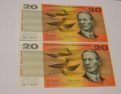 Australian 1966 $20 consecutive pair, near UNC.