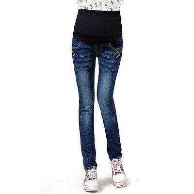 New Pregnant Women Jeans Fashion Maternity Slim Denim Pants Belly Cover Trousers