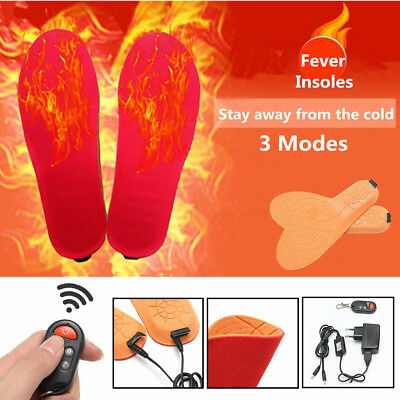 Heated Insoles Shoe Boot Foot Warmer Thermal Rechargeable w/Remote & USB Charger
