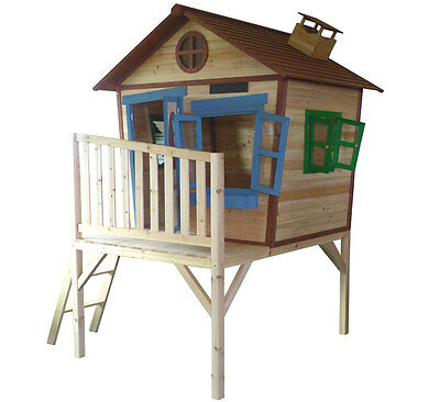 Redwood Den Playhouse - Elevated Wooden Cubby with Slide