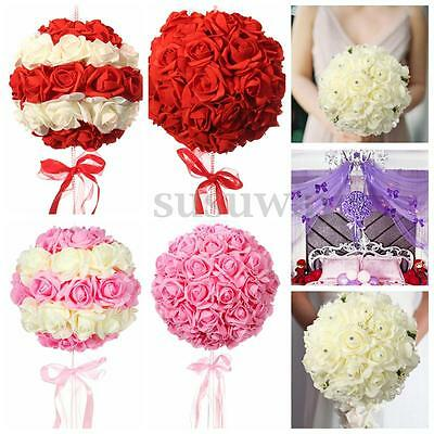 50X Wedding Kissing Foam Flower Ball Roses Bridal Bouquet Party Home Decor Silk