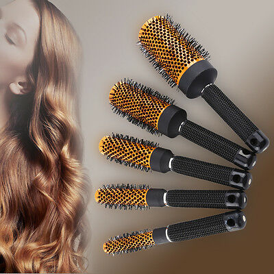 5Size Ceramic Pro Round Comb Curling Hair Dressing Brush Salon Styling Barrel DY