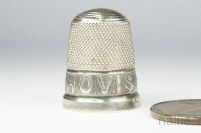 ANTIQUE ENGLISH STERLING SILVER HOVIS BREAD ADVERTISING SEWING THIMBLE c1913