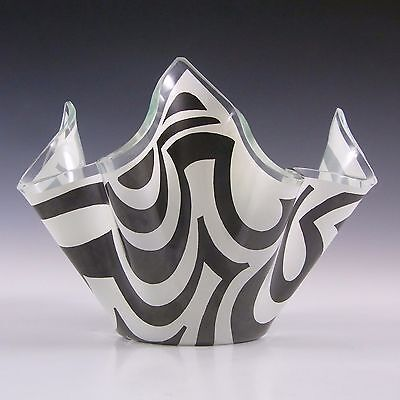 Chance Brothers Black Glass 'Psychedelic' Handkerchief Vase #2