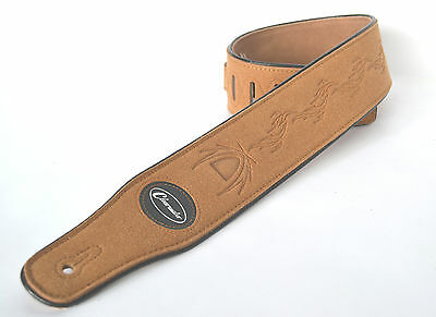 Guitar Strap Electric Acoustic Or Bass Brown Embossed Suede  By Clearwater