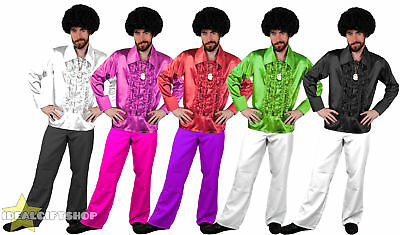 Mens 1970's Disco Ruffle Shirts Flares Adults Fancy Dress Costume 70S Frilly Top