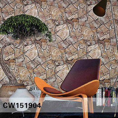 10M PVC  Wallpapers Waterproof 3D Original Stone Simulation Bricks Rock Marble