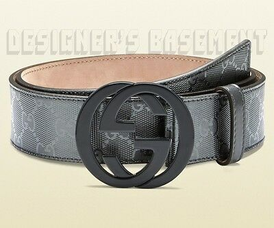 GUCCI pewter 44 GG IMPRIME Leather plastic INTERLOCKING G buckle belt NWT Authen