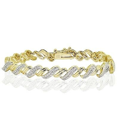 18K Gold Tone 0.10ct TDW Natural Diamond San Marco Tennis Bracelet in Brass
