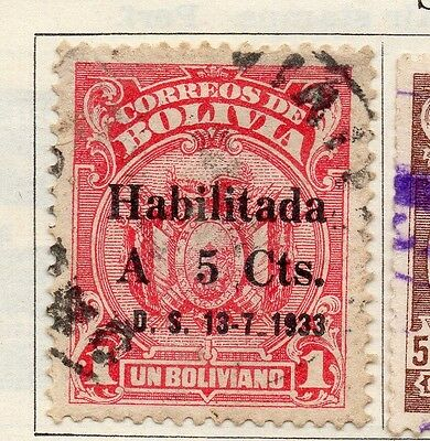 Bolivia 1933 Early Issue Fine Used 5c. Surcharged 113777