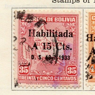 Bolivia 1933 Early Issue Fine Used 15c. Surcharged 113780