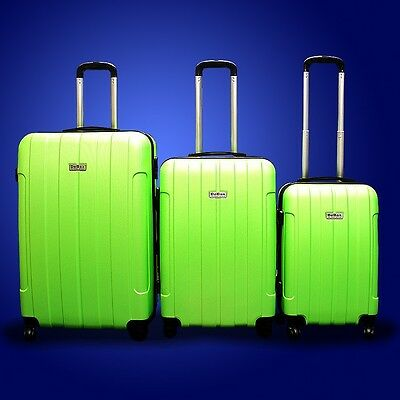 New Generic 3PCS Luggage Travel Set Bag 3 PCS ABS Trolley Suitcase w/ Lock Green