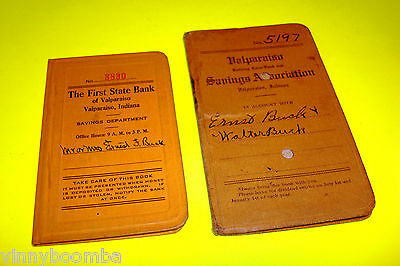 Vintage Bank Deposit Books Valparaiso Indiana Ww Ii Era 1940's History Register