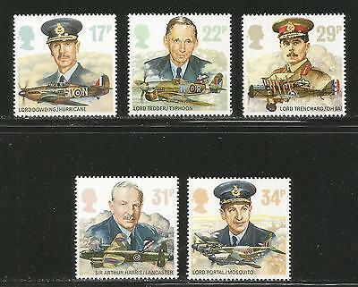 Great Britain 1986 RAF Commanders & Aircraft--Attractive Topical (1157-61) MNH