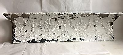 "Antique Tin Ceiling Tile Shelf 3.5 RECLAIMED Shabby White Torches 42"" B86"