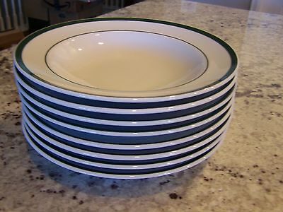 (8) Williams Sonoma Brasserie Rimmed Soup Bowls With Green Trim