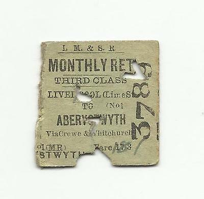 LMS ticket, Liverpool Lime Street to Aberystwyth, 1937