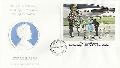 (95144) CLEARANCE Swaziland FDC Queen Mother Life & Times miniseheet 7 June 1985