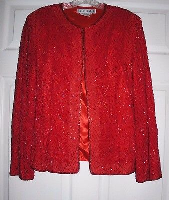 Vintage 90's Red Silk Full  Beaded Evening Jacket L