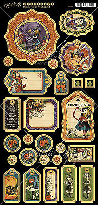 Graphic45 HALLOWE'EN IN WONDERLAND Chipboard (27) PCS scrapbooking