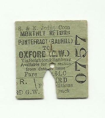 Swinton & Knottingley Joint ticket, Pontefract (Baghill) to Oxford, 1943