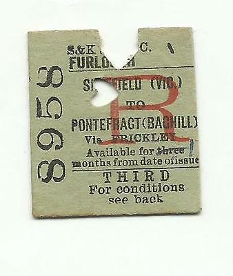 Swinton & Knottingley Joint ticket, Sheffield (Victoria) to Pontefract (Baghill)