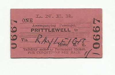 LNER ticket, one article, Prittlewell to Rayleigh, 1965