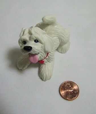 """New FISHER PRICE Loving Family Dollhouse DOG Puppy Pup White w/ Collar """"Jingles"""""""