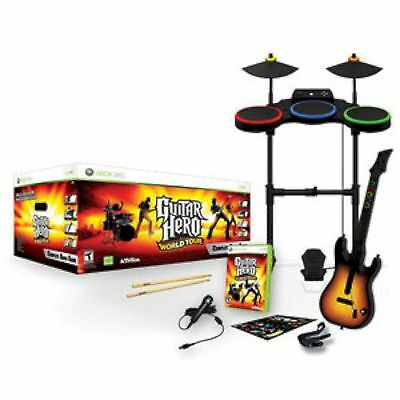 XBox 360 Guitar Hero WORLD TOUR Complete BAND KIT Set drums mic game microsoft
