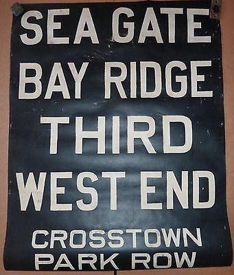 1940's Vintage NYC New York City Trolley Front Destintion Roll Sign SEA GATE 1