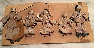 Antique Dollhouse Chinese Miniature Cloth Doll Family On Original Card