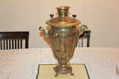 Vintage Antique Brass Copper Russian Samovar