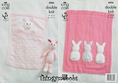 King Cole 4006 Baby Blankets/bunny Original Knitting Pattern - Double Knit