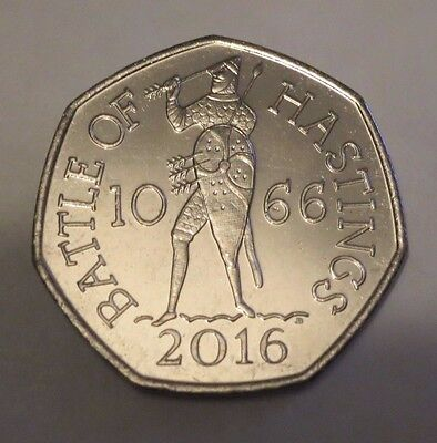 2016  UNCIRCULATED BATTLE OF HASTINGS 1066  50 PENCE COIN new 50p