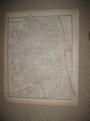 Gorgeous Large Antique 1886 Chicago Illinois Handcolored Map Very Detailed Rare