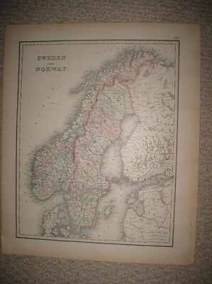 Large Superb Antique 1886 Sweden Norway Colton Handcolored Map Rare Europe Rare