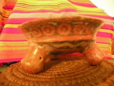 Polychrome South America  Pre Colombian Native  Pottery 3 leg Tripod Bowl