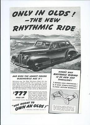 "1939 OLDSMOBILE ""60 Sedan"" Vintage Automobile / Car Magazine Print Ad"